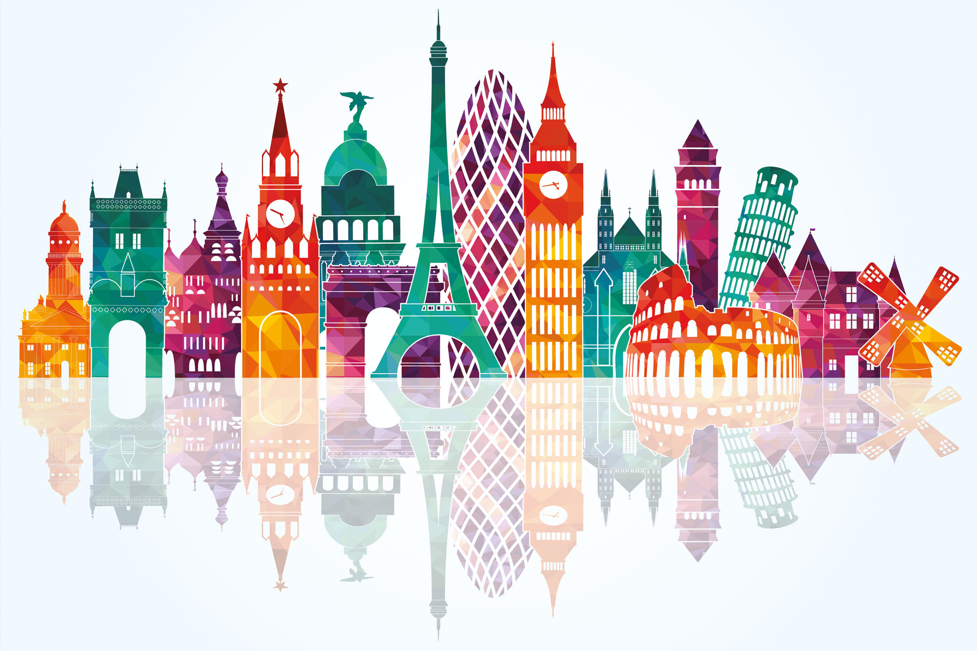 Picture containing landmarks from across Europe